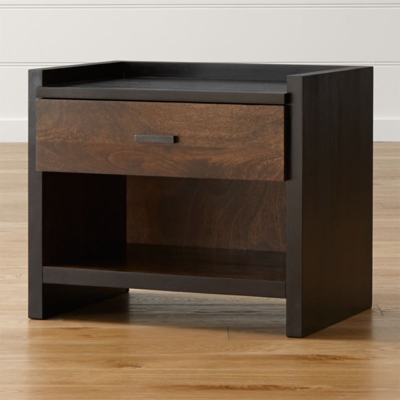Clean, straightforward styling lines up the richly grained beauty of solid mango wood finished in 2 gorgeous tones. The bold frame in rich espresso surrounds a single drawer in tobacco brown. <NEWTAG/><ul><li>Solid mango frame with espresso finish</li><li>Solid mango drawer front with tobacco brown  finish</li><li>As with all solid woods, expansion and contraction may occur with seasonal changes in humidity</li><li>Metal undermount drawer glides</li><li>Brass pull with antique copper finish</li><li>Made in India</li></ul>