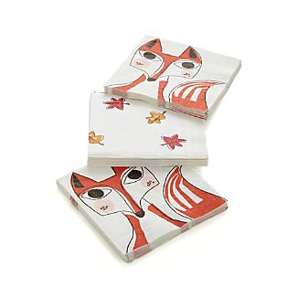 Set of 20 Fox Beverage Napkins