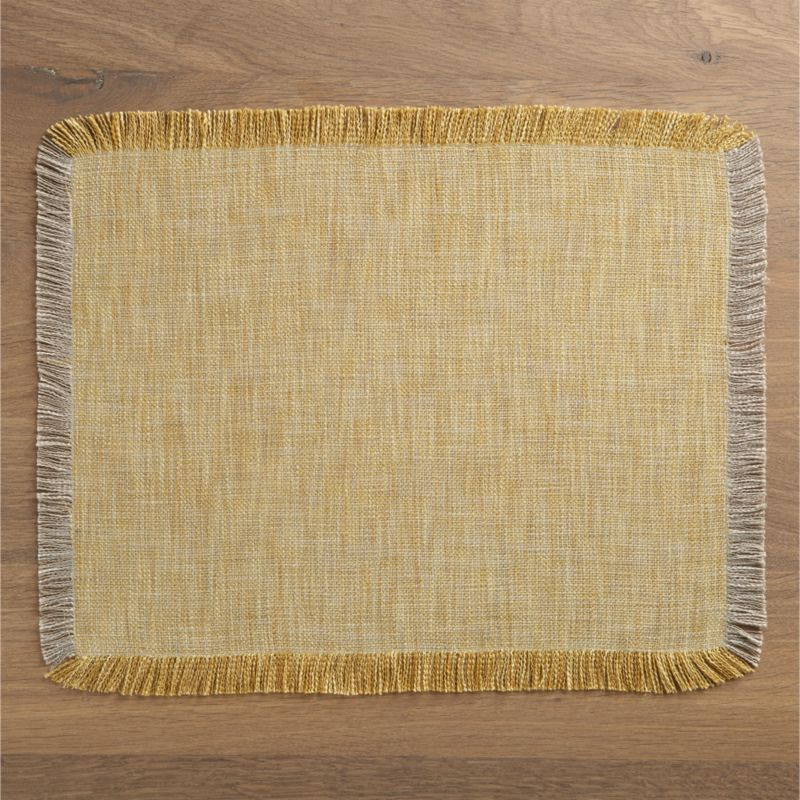 Textural weave make a solid of taupe and yellow polyester threads that come back into their own as an all-around, natural fringe border. A versatile placemat with great soft handfeel and soothing neutral colors.<br /><br /><NEWTAG/><ul><li>100% polyester</li><li>Machine wash cold, dry flat</li><li>Do not iron or dry clean</li><li>Made in India</li></ul>
