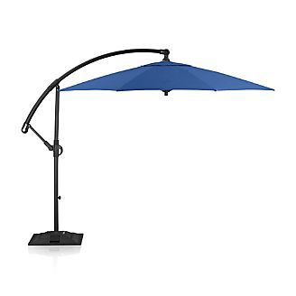 10' Round Sunbrella ® Mediterranean Blue Cantilever Umbrella with Base