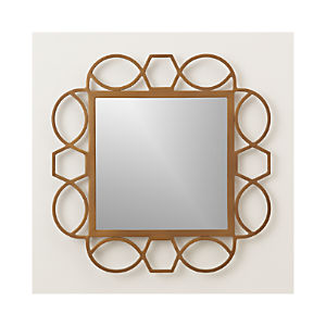 Fretwork Brass Mirror