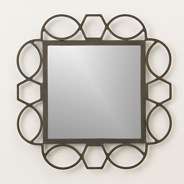 Fretwork Warm Zinc Square Wall Mirror