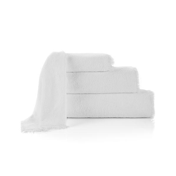 White Fringe Bath Towels
