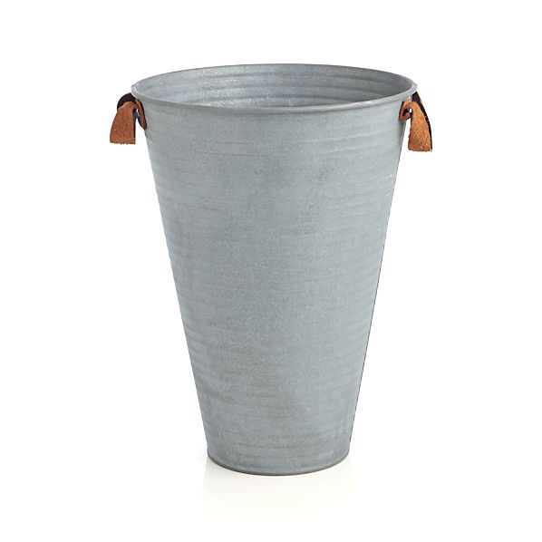 Galvanized Bucket Medium with Leather Handles