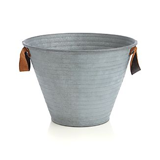 Galvanized Bucket Small with Leather Handles