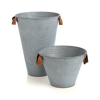 Galvanized Buckets with Leather Handles
