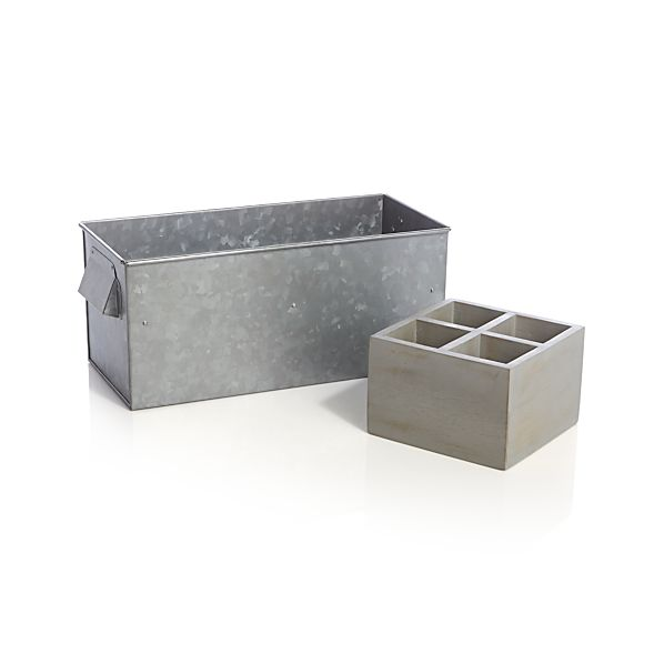 Galvanized Caddy with Flatware Tray