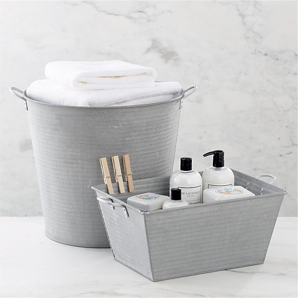 Galvanized Bath Tub http://www.crateandbarrel.com/galvanized-tub-and ...