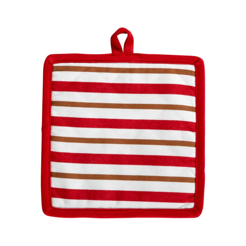 Stripes of gingerbread brown accent holiday red and white with a warm and toasty twist. Padded potholder is edged in red with convenient hanging loop.<br /><br /><NEWTAG/><ul><li>100% cotton outer shell</li><li>100% polyester wadding</li><li>Machine wash</li><li>Made in India</li></ul>