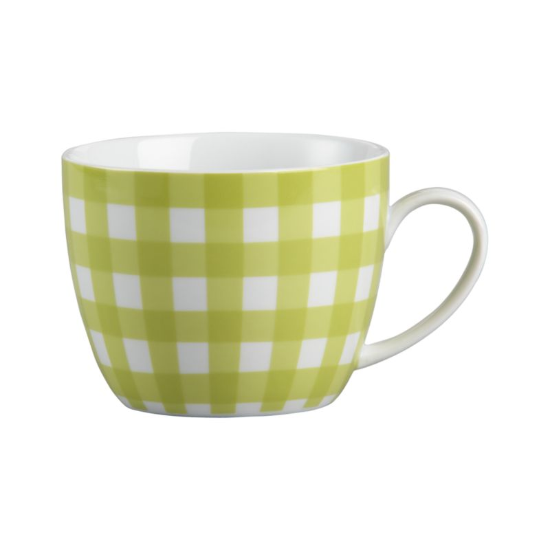Fresh gingham plaid patterns friendly rounded mug in white porcelain.<br /><br /><NEWTAG/><ul><li>Porcelain with decal design</li><li>Dishwasher- and microwave-safe</li><li>Made in China</li></ul>