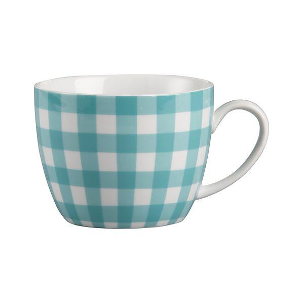 Gingham Turquoise Mug