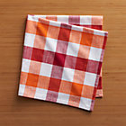 Gingham Red-Orange Napkin.