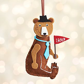 Glamping Bear with Camp Flag Ornament