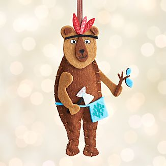 Glamping Bear with Tomahawk Ornament