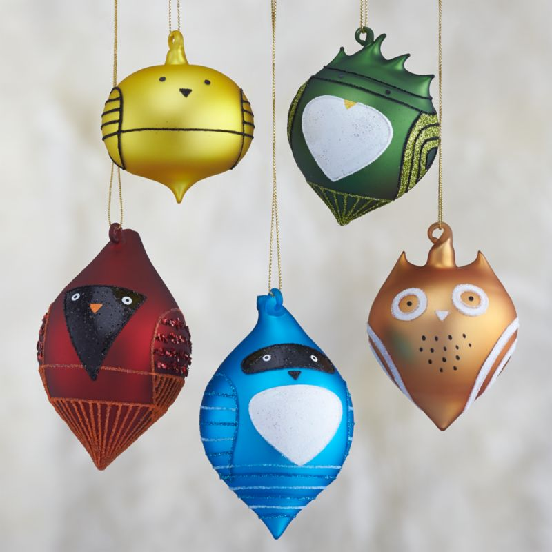Set of 5 Glass Bird Ornaments