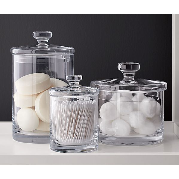 Glass canisters crate and barrel for Bathroom containers with lids