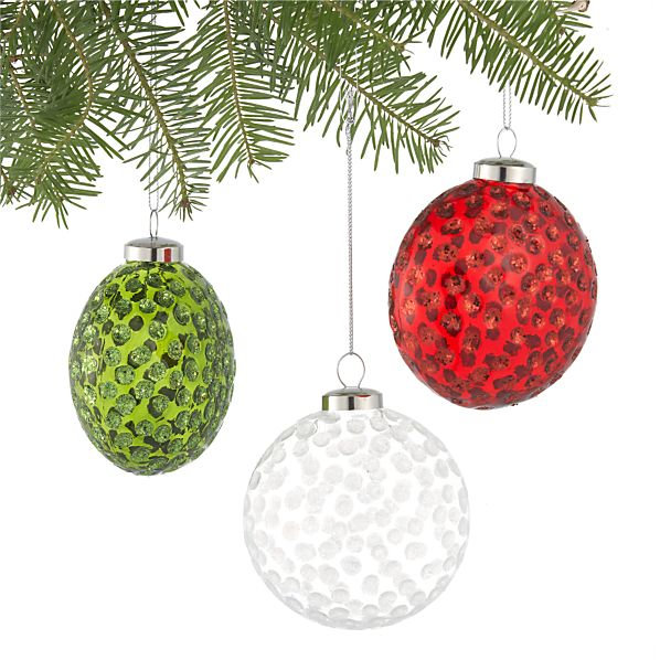 Set of 3 Dimple Ball Ornaments
