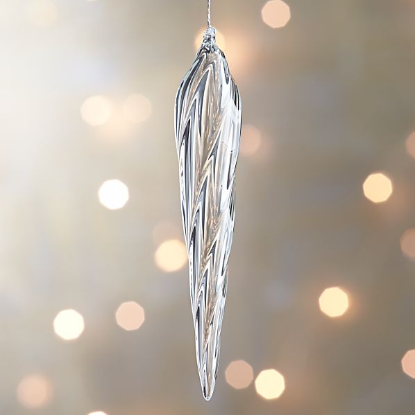 Glass Faceted Drop Icicle Ornament