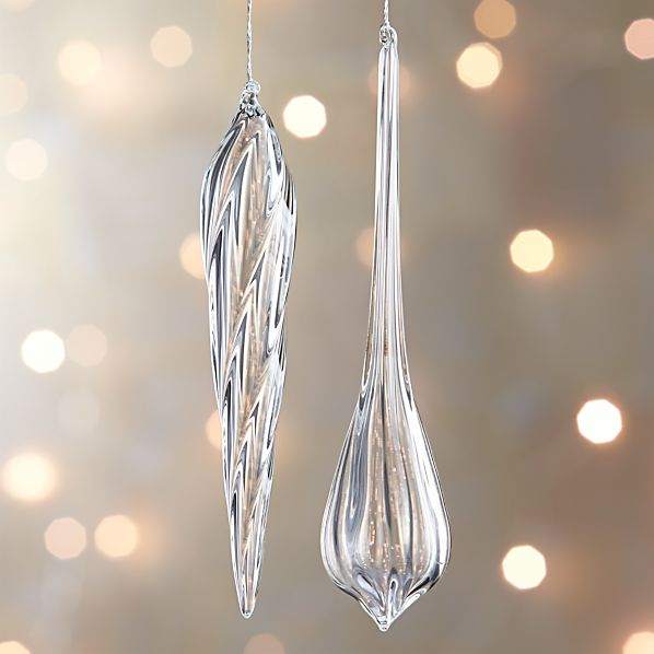 Glass Faceted Icicle Ornaments