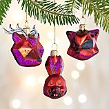Set of 3 Glass Faceted Woodland Creature Ornaments
