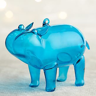 Aqua Glass Hippo Ornament
