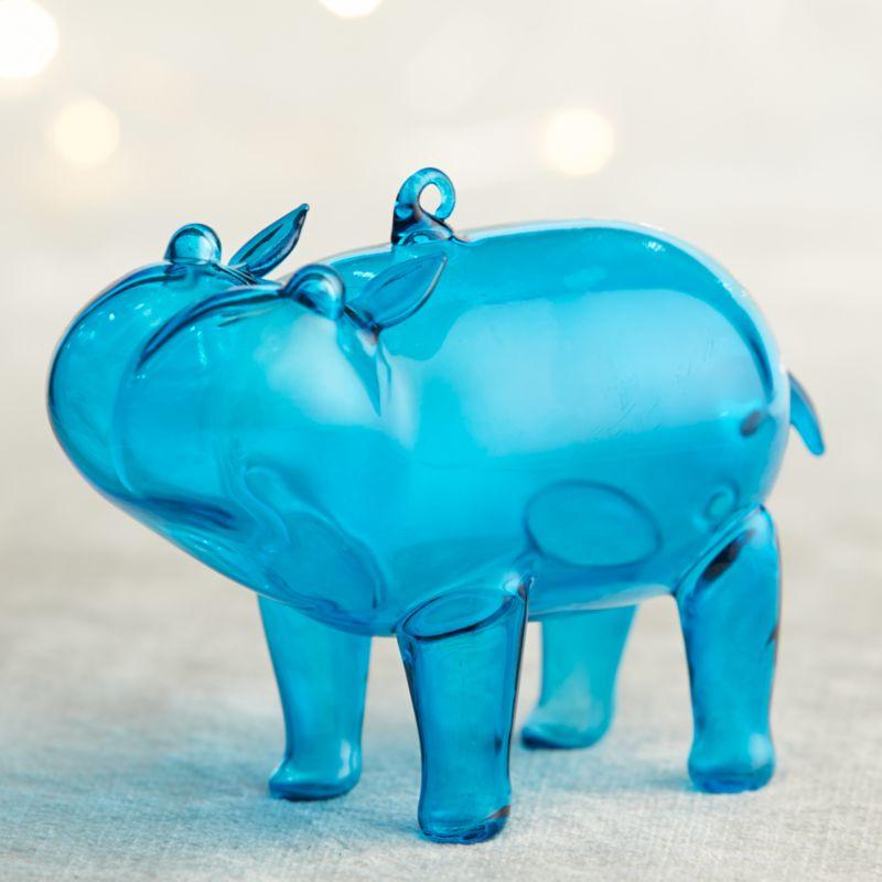 Blue Hippo Ornament