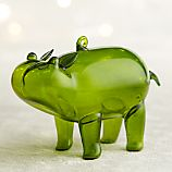 Green Glass Hippo Ornament