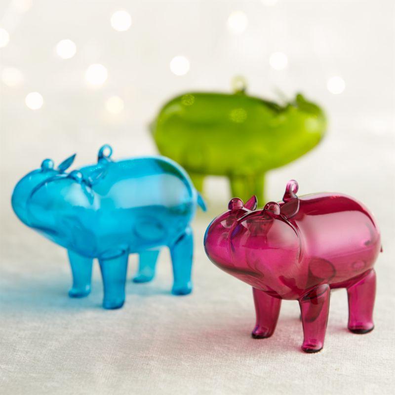 Hippo Ornaments in Blue, Green, & Purple