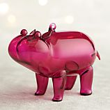Purple Glass Hippo Ornament