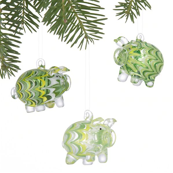 Set of 3 Pig Ornaments