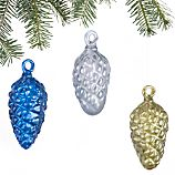 Set of 3 Glass Pinecone Ornaments