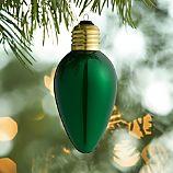 Retro Green Light Bulb Ornament
