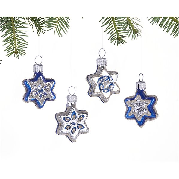 Set of 4 Glass Star Ornaments