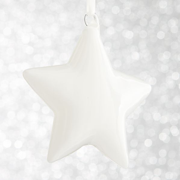 White Glass Star Ornament