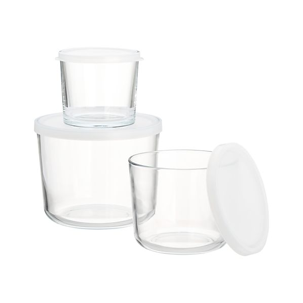 3-Piece Tall Glass Storage Container Set