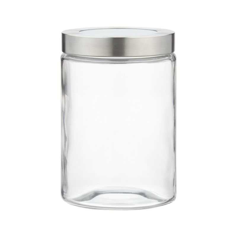 Small Glass Storage Container with Stainless Steel Lid