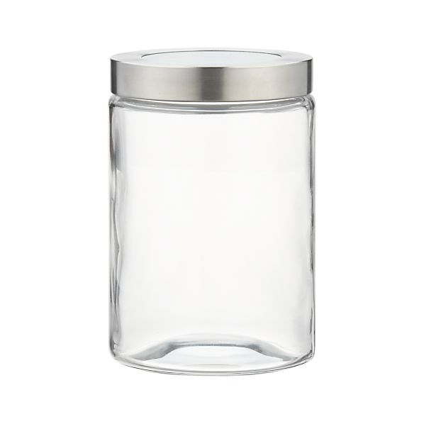Glass containers with locking lids
