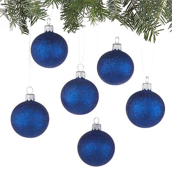 Set of 6 Glitter Ball Blue Ornaments