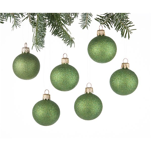 Set of 6 Glitter Ball Green Ornaments