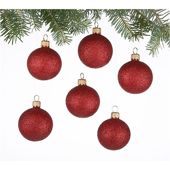 Set of 6 Glitter Ball Red Ornaments