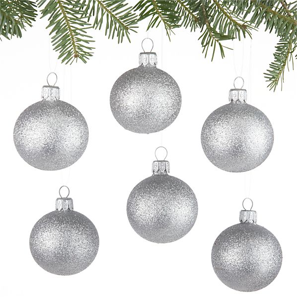 Set of 6 Glitter Ball Silver Ornaments