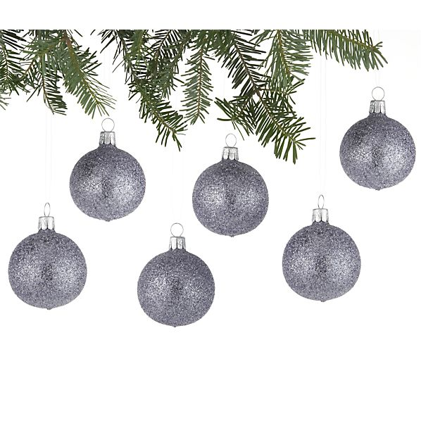 Set of 6 Glitter Bead Ball Lavender Ornaments