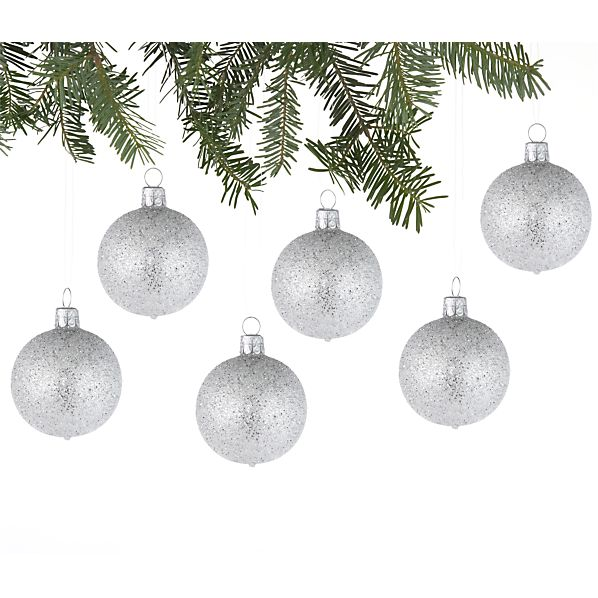 Set of 6 Glitter Bead Ball Silver Ornaments