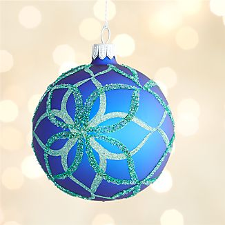 Glitter Blue Bloom Ball Ornament