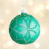 Glitter Green Bloom Ball Ornament