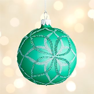 Glitter Green Bloom Ball Ornament