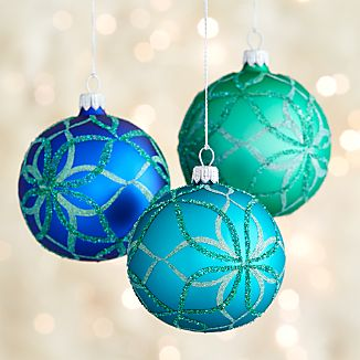 Glitter Bloom Ball Ornaments