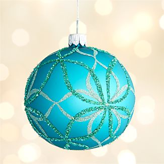 Glitter Teal Bloom Ball Ornament