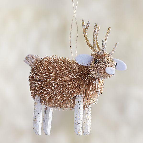 Glitter Buri Reindeer Ornament