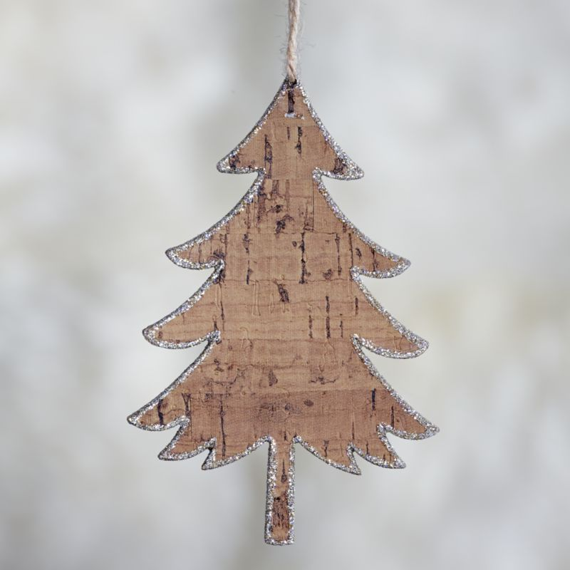 Wide Glitter Cork Tree Ornament